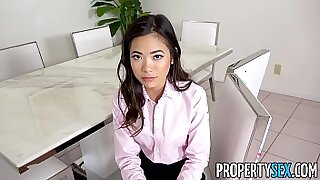 sexy video: Asian petite secretary Athena Bellos fucked after table fucks