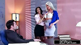 sexy video: Olen and Price Geist threesome in his earthy office