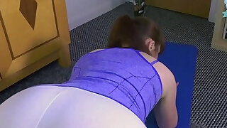 sexy video: Son fucks stuck yoga mom and gives her a creampie