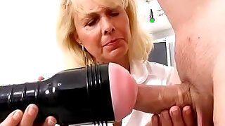 sexy video: Blonde lady doctor Koko old with young CFNM exam and handjob