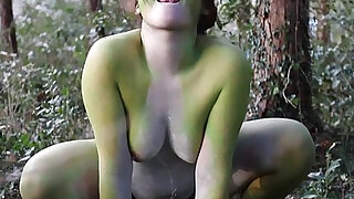 sexy video: Stark naked Japanese fat frog lady in the swamp HD