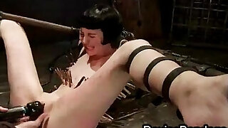sexy video: Strapped zippered babe toys pussy finger fucked and vibed