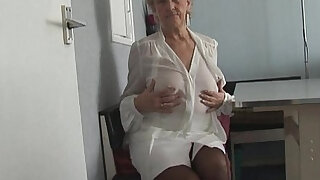 sexy video: Attractive Granny in short skirt panty teases showing off plump pussy lips