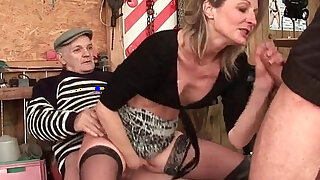 sexy video: Skinny milf gets anal fucked in threesome with Papy Voyeur outdoor
