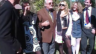 sexy video: Hot sex picnic turn in a orgy directed by a dirty old man!
