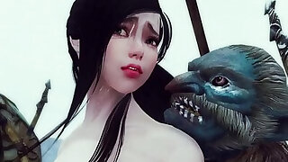 sexy video: Sexy enchantress and mage caught and gangbanged by monsters Skyrim Hentai