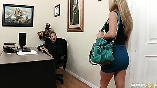 sexy video: Busty brunette secretary Kiera King seduces her bosses at work