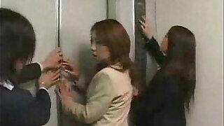 sexy video: Asian girls in trouble in a lift gangbanged