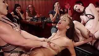sexy video: Two female slaves dominated in orgy