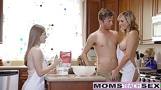 sexy video: Blonde Teen Threesome With Dick for Mom